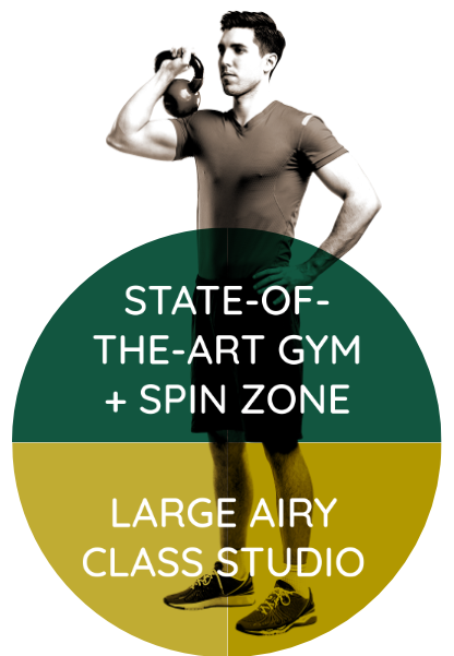 State-of-the-art gym + spin zone. Large airy class studio.